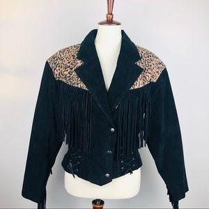 Vintage Leather Cheetah Print Black Jacket Large